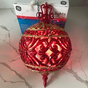 Lighted GE RED Filigree Finial 36 light Ornament